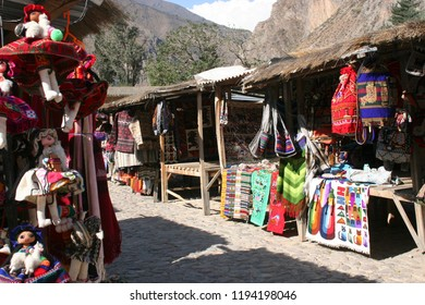 Tourist oriented souvenirs at the Pisac Market is one of the most famous markets in the Cusco region