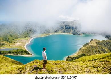 Tourist over Lagoa do Fogo São Miguel Açores