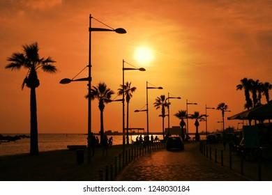 Tourist promenade in Cyprus Paphos City