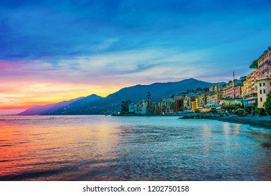 The tourist resort of Camogli on the Italian Riviera in the Metropolitan City of Genoa, Liguria, Italy
