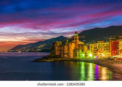 The tourist resort of Camogli on the Italian Riviera in the Metropolitan City of Genoa, Liguria, Italy