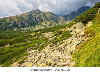 Tourist route in summer High Tatra mountains, scenic landscape with rocks, green grass and dramatic cloudy sky, outdoor travel background, Strbske Pleso region, Slovakia (Slovensko)