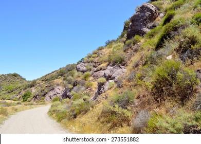 Tourist route through the hills of Topanga Canyon, California.