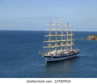 A tourist sailboat located in the Caribbean