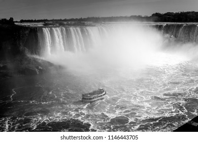 Tourist ship in Niagara Falls black and white photograph