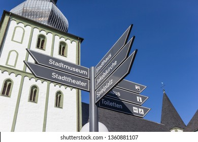 Tourist sign in front of the Marien church in Lippstadt, Germany