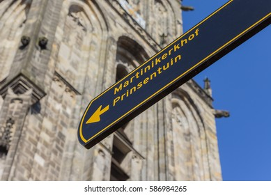 Tourist sign in front of the Martini church in Groningen, Holland