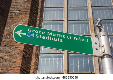 Tourist sign giving directions to the central market square in Zwolle, Netherlands