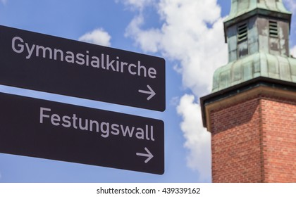 Tourist sign in the historical center of Meppen, Germany