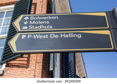 Tourist sign near the town hall in Dokkum, Holland