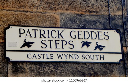 Tourist sign for Patrick Geddes Steps, staircase that connects Edinburgh Castle to the Grassmarket. Edinburgh city, Scotland UK. may 2018
