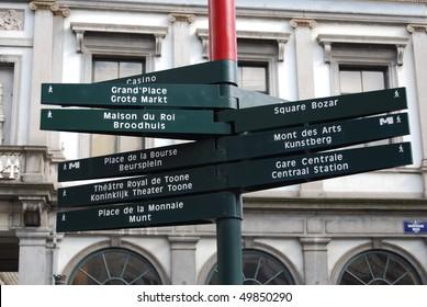 Tourist signpost in Brussels, Belgium