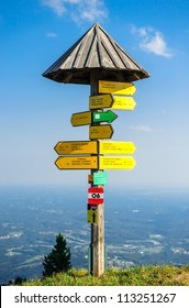 Tourist signpost on the edge of mountain in Graz, Austria