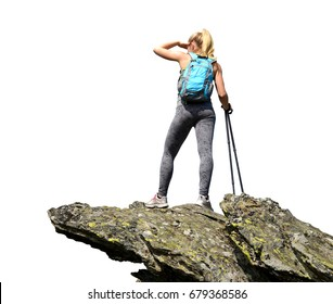 Tourist is standing on a rock isolated on white background.