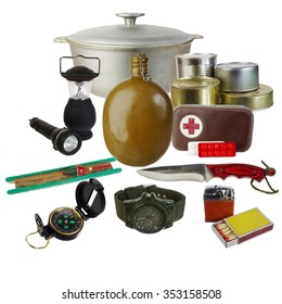 Tourist and survival equipment. Isolated on white