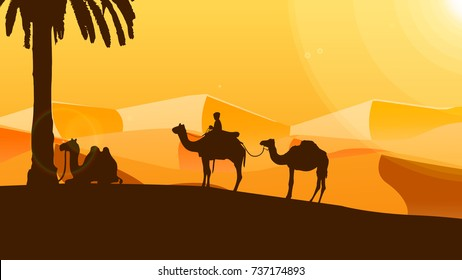 Tourist take a rest near palm tree after walk around beautiful desert by camel in a hot day. illustration