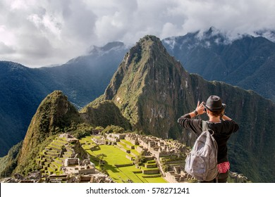 Tourist Takes Photo of Machu Picchu Lost City of Inca, Peru