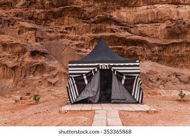 Tourist tent in Wadi Rum dessert. Jordan.