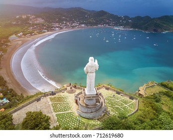 Tourist tour for jesus christ statue  in Nicaragua. Above view on San juan del sur