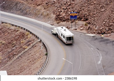 Tourist traffic at the Hoover Dam in the Lake mead national recreation area. Entering Arizona from Nevada