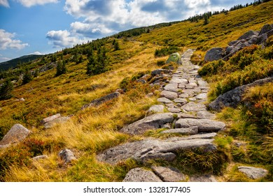 Tourist trail in the Giant Mountains in Poland.