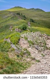Tourist trail to Smerek peak in Bieszczady Mountains, Poland