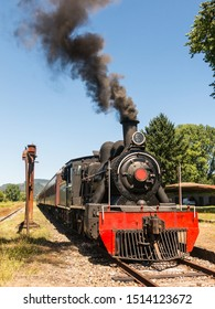 Tourist train called Valdiviano that runs from Valdivia to Antilhue with a 1913 North British locomotive type 57. Los Rios Region, in southern Chile.