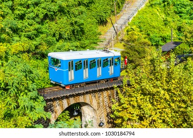 Tourist train of the Madonna del Sasso Church, in Locarno city on lake Maggiore, in Canton Ticino  district, Switzerland.