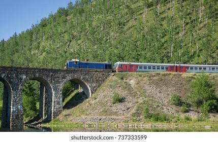 Tourist train  on the Circum-Baikal Railway