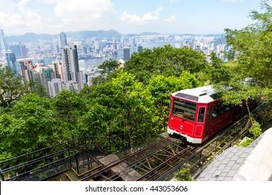 Tourist tram at the Peak in Hong Kong