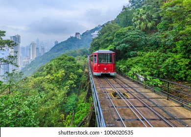 Tourist tram at the peak, Victoria peak tram and Hong Kong city skyline, Hong Kong.