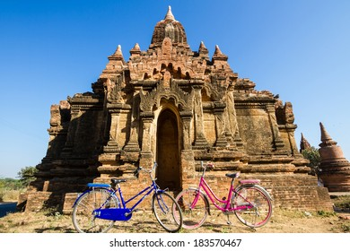 Tourist transport: bicycles outside a temple  in Bagan, Myanmar.
