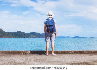 tourist traveler with backpack ready for new travel adventure, background with copy space