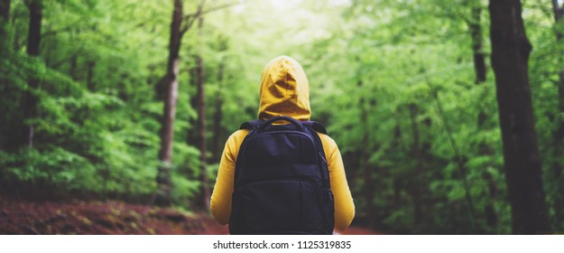 tourist traveler with backpack standing into road at summer green forest, view back girl hiker in yellow hoody looking and enjoying the of fresh air in trip, relax holiday concept, blurred background
