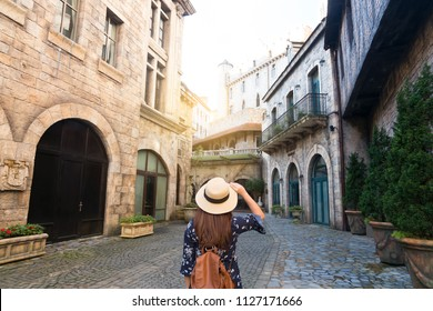 Tourist is traveling at French village on Bana Hills in Danang, Vietnam.