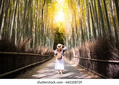 Tourist is traveling into Arashiyama bamboo forest in Kyoto, Japan.