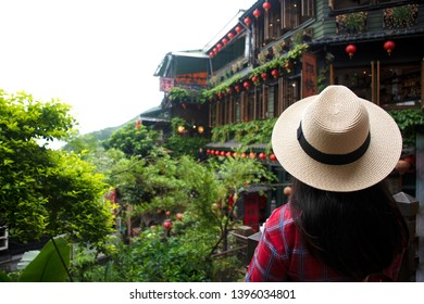 Tourist is traveling at Jiufen old village in Taiwan.