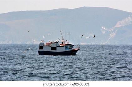 Tourist trip on board fishing boat by the Cape Ortegal, the Aguillons and the highest cliffs of Continental Europe, Galicia, Spain. Hatchery of barnacles, Concellos de Cariño and Cedeira, A Coruña,