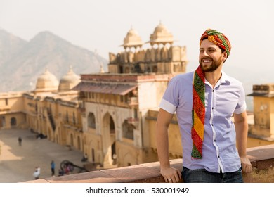 Tourist with turban in Amer Fort, Jaipur, India.