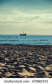 Tourist Viking ship photographed from the beach.