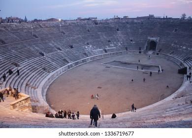 Tourist visit at the Arena of Verona