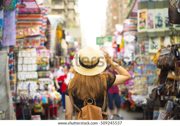 Tourist is visiting at Mongkok in Hong Kong.