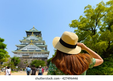 Tourist is visiting at Osaka castle in Japan.