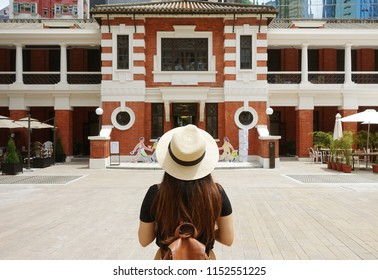 Tourist is visiting Tai Kwun Centre for Heritage and Art museum new travel place in Central district in Hong Kong.