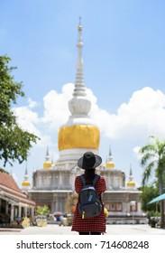 Tourist is visiting at Wat Phathat Nadoon in Mahasarakham, Thailand.