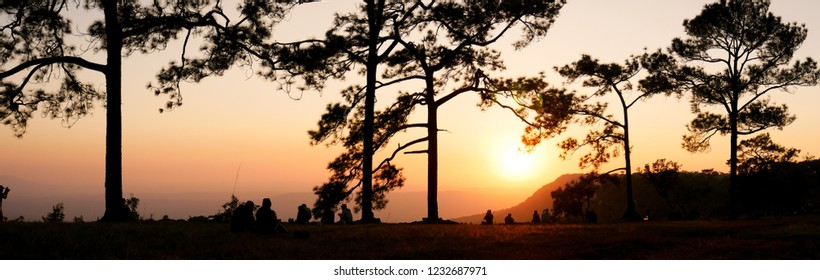 the tourist waiting for looking sunset  at Phu Kradueng national park, Loei Thailand.