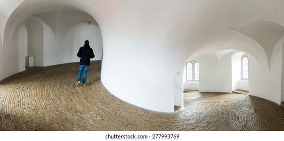 Tourist Walking in Rundetaarn, Copenhagen, Denmark