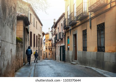 Tourist walking in Segovia the historic city Romanesque architecture locate at northwest of Madrid, Spain.