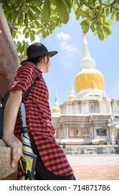 Tourist at Wat Prathatnadoon in Mahasarakham, Northeast of Thailand