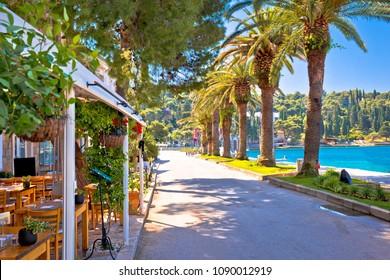 Tourist waterfront street in Cavtat view, Adriatic coastline in Dalmatia region of Croatia